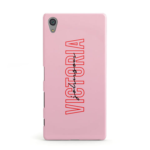Personalised Pink Red Names Sony Case