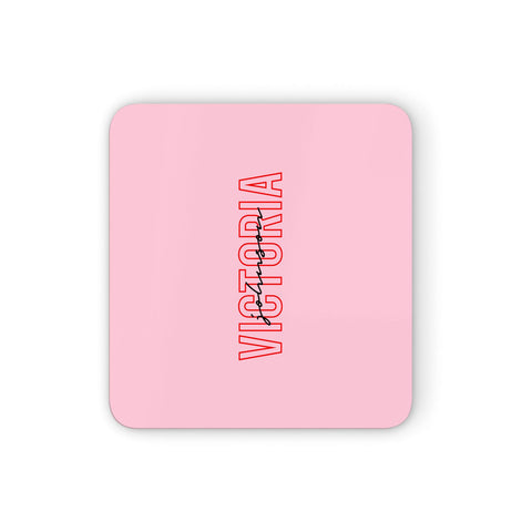 Personalised Pink Red Names Coasters set of 4