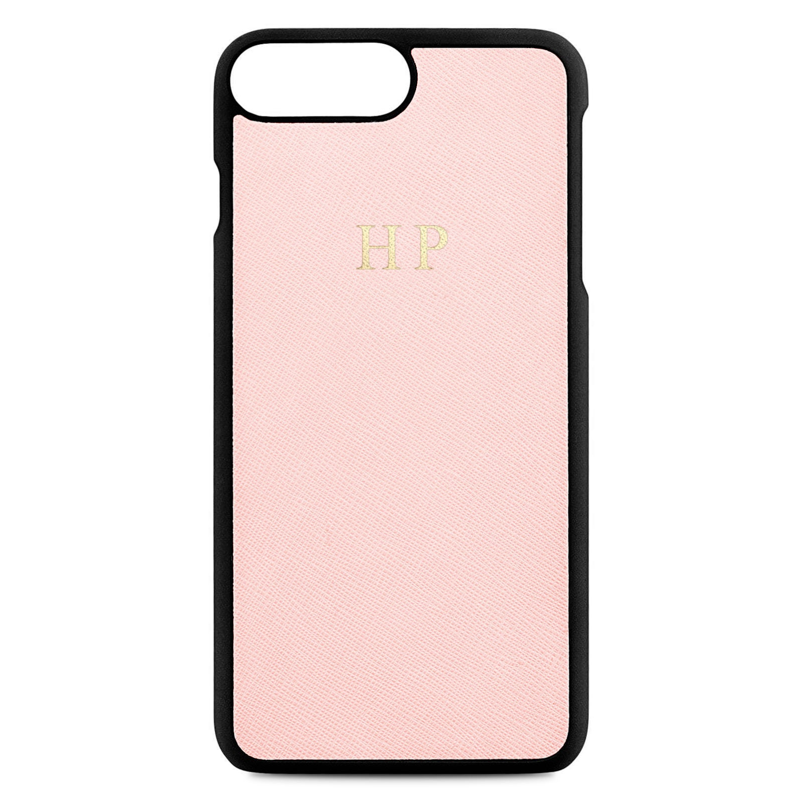 Personalised Pink Saffiano Leather iPhone 8 Plus Case