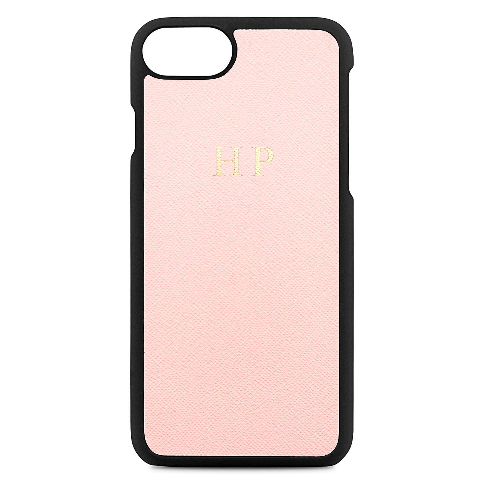 Personalised Pink Saffiano Leather iPhone Case