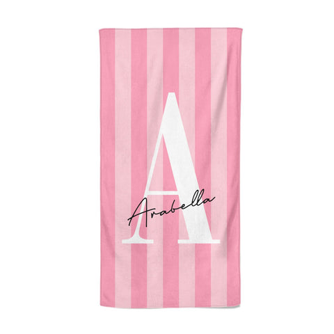 Personalised Pink Stripes Initial Beach Towel