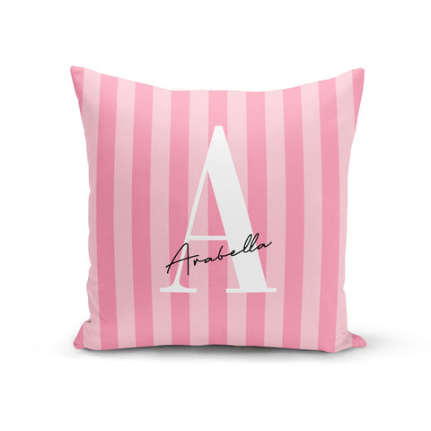 Personalised Pink Stripes Initial Cushion