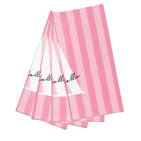 Personalised Pink Stripes Initial Napkins