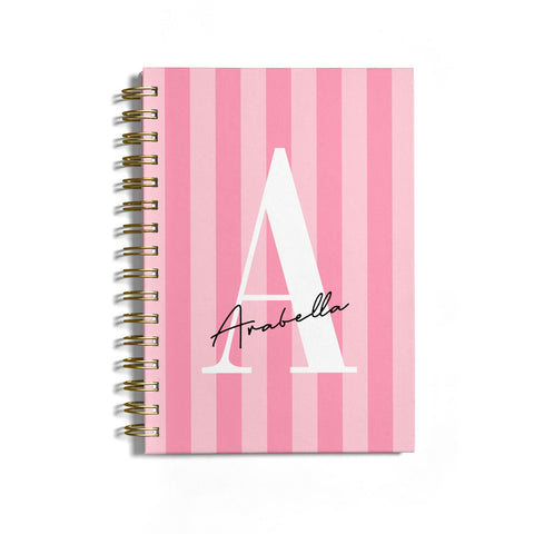 Personalised Pink Stripes Initial Notebook