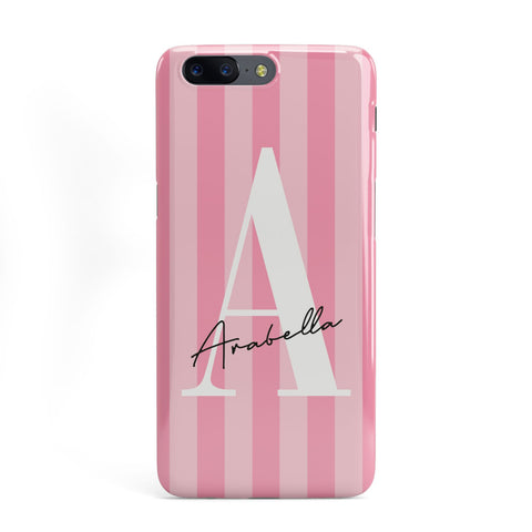 Personalised Pink Stripes Initial OnePlus Case