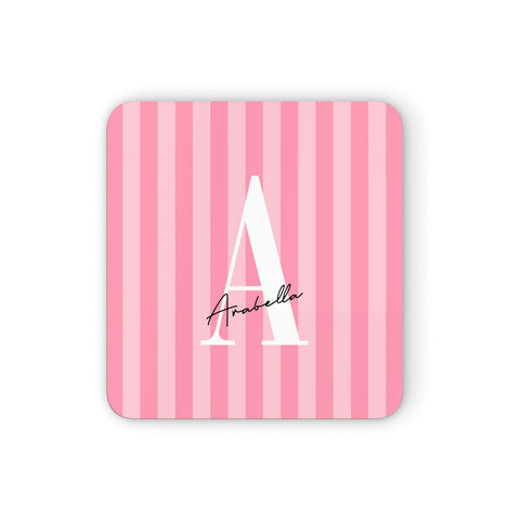Personalised Pink Stripes Initial Coasters set of 4