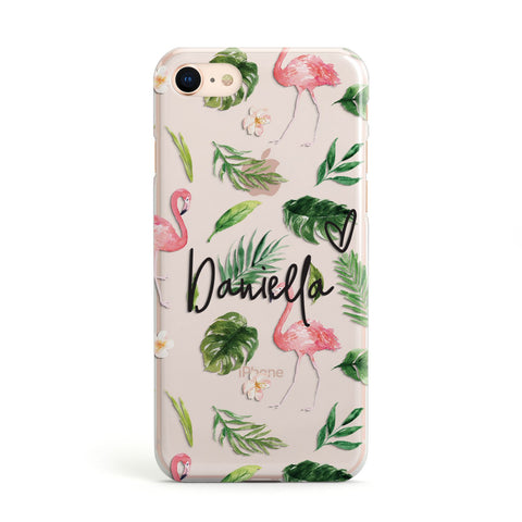 Personalised Pink & White Flamingo Apple iPhone Case