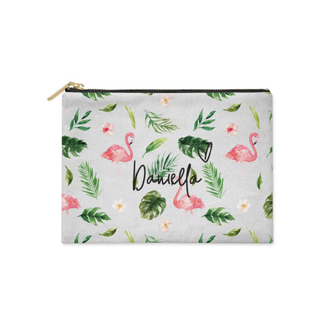 Personalised Pink & White Flamingo Clutch Bag
