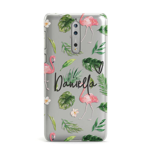 Personalised Pink & White Flamingo Nokia Case