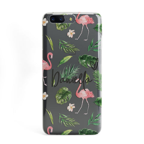 Personalised Pink & White Flamingo OnePlus Case