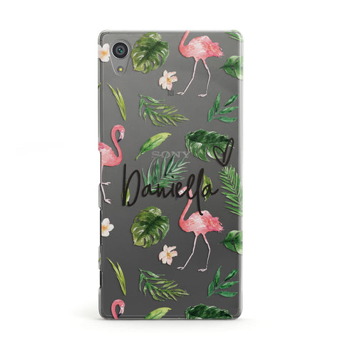 Personalised Pink & White Flamingo Sony Case