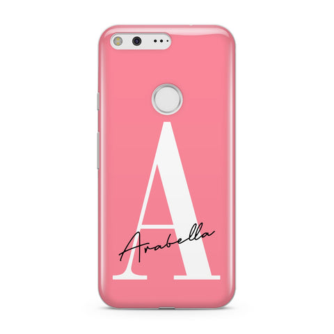 Personalised Pink White Initial Google Case