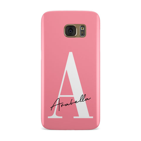 Personalised Pink White Initial Samsung Galaxy Case