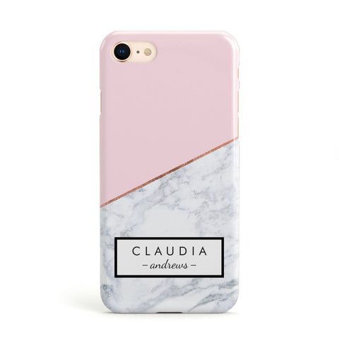 Personalised Pink With Marble Initials Name Apple iPhone Case