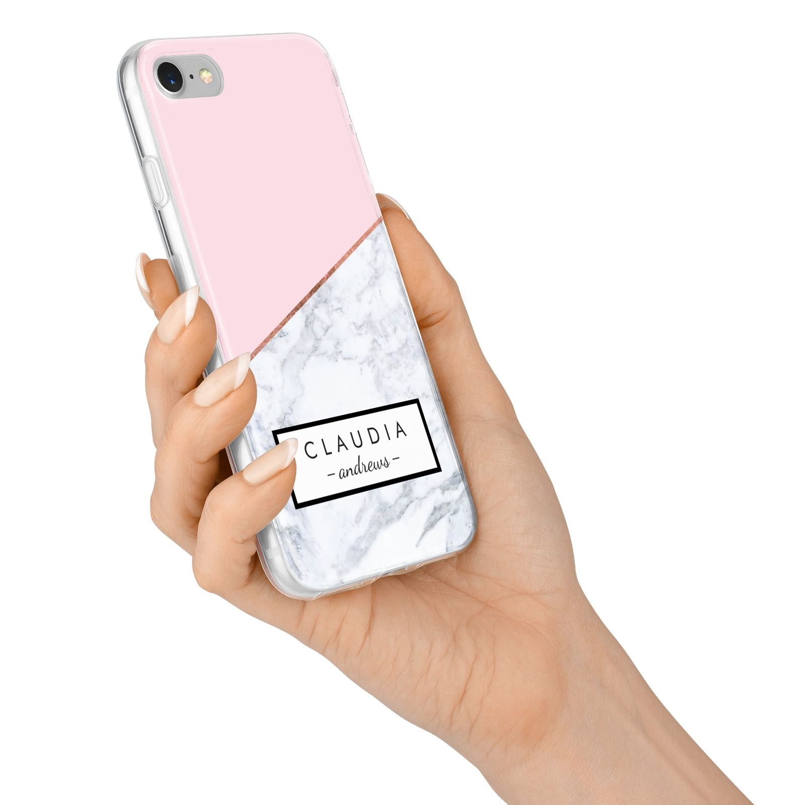 Personalised Pink With Marble Initials Name iPhone 7 Bumper Case on Silver iPhone Alternative Image
