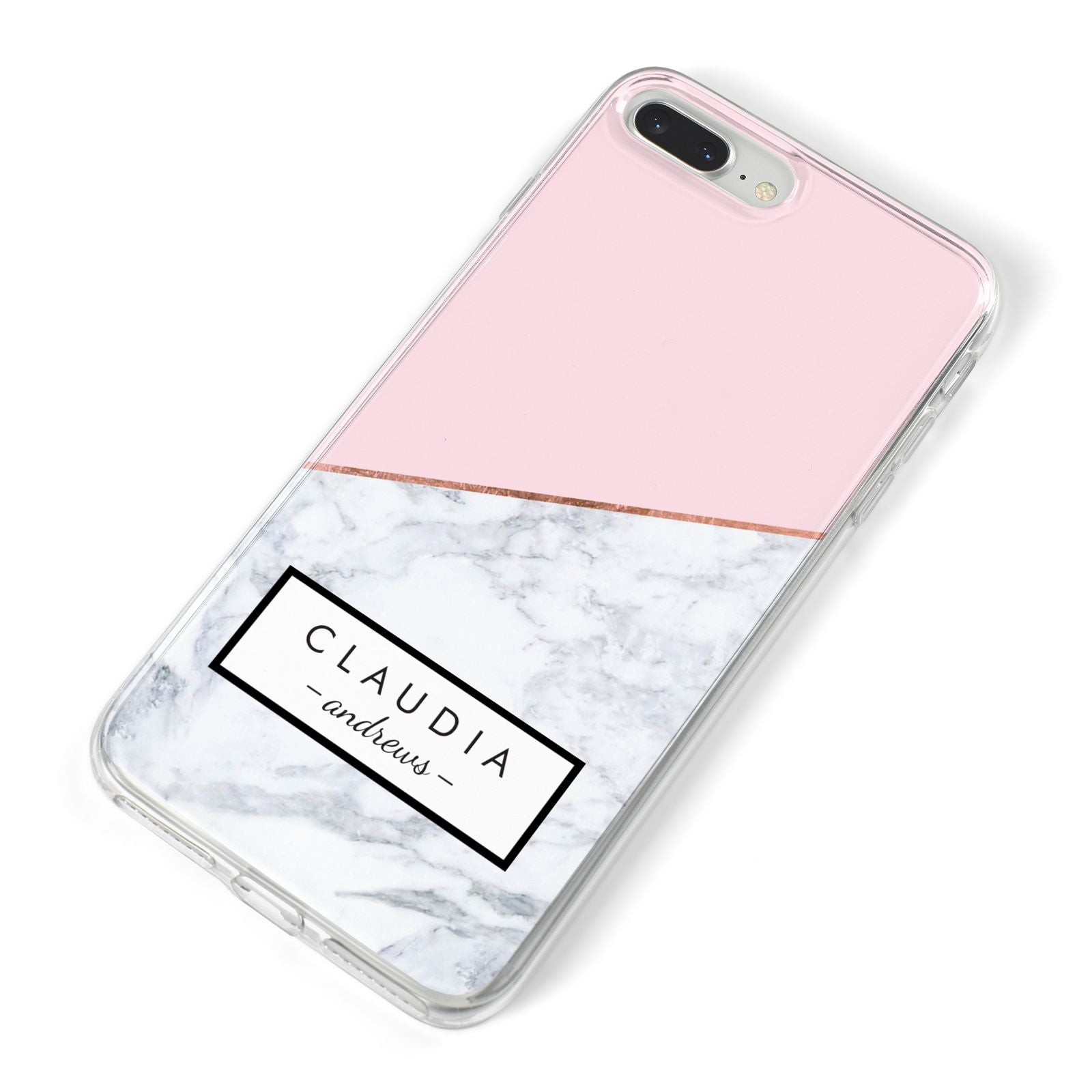 Personalised Pink With Marble Initials Name iPhone 8 Plus Bumper Case on Silver iPhone Alternative Image
