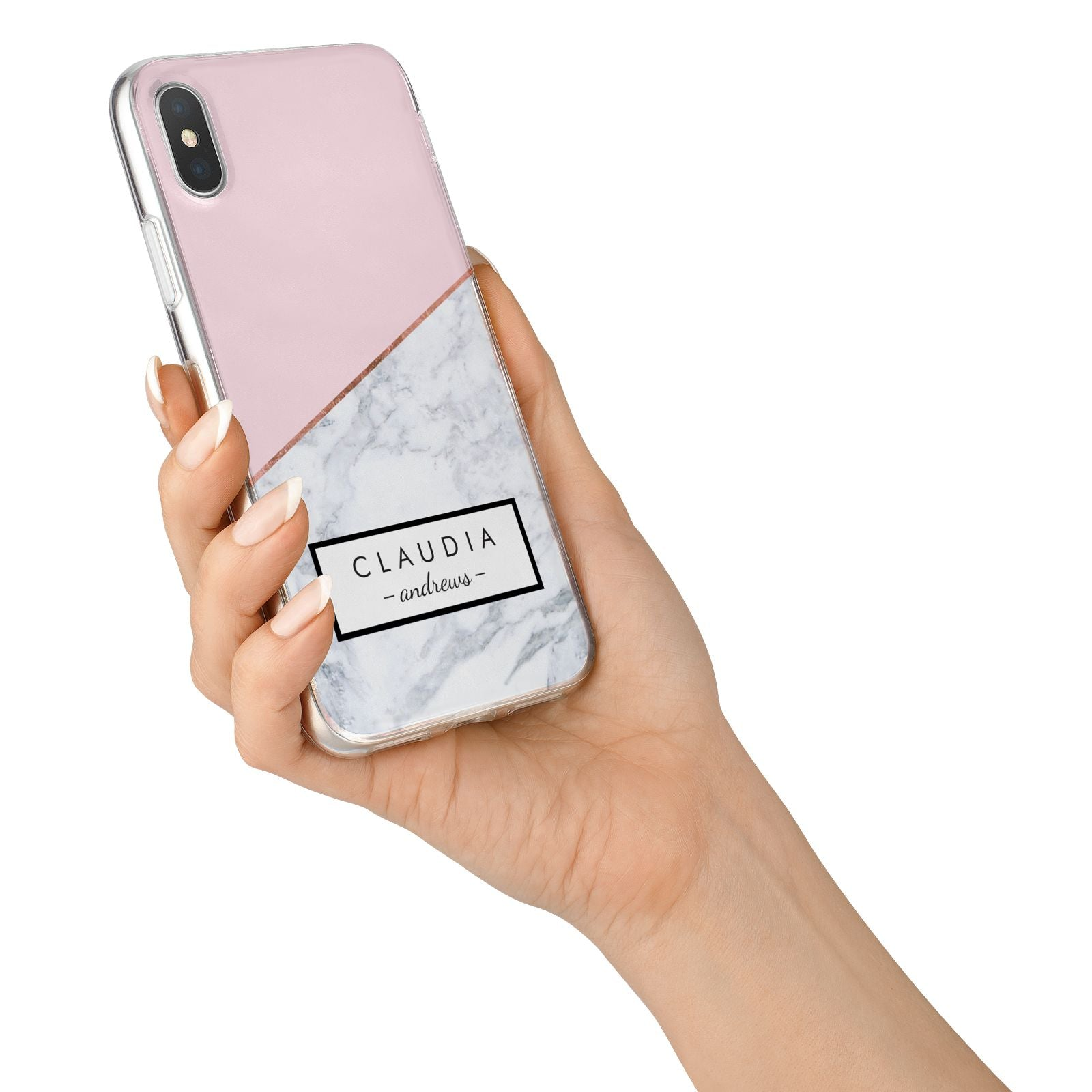 Personalised Pink With Marble Initials Name iPhone X Bumper Case on Silver iPhone Alternative Image 2