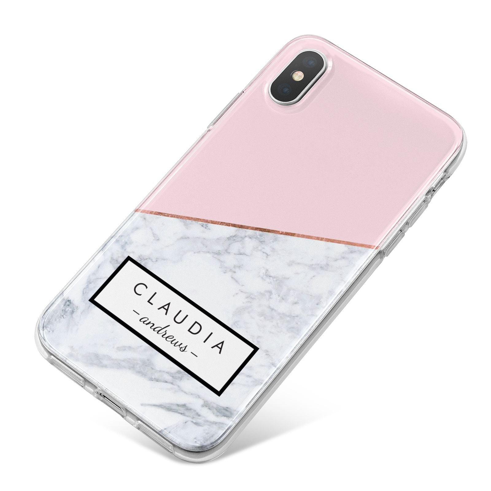 Personalised Pink With Marble Initials Name iPhone X Bumper Case on Silver iPhone