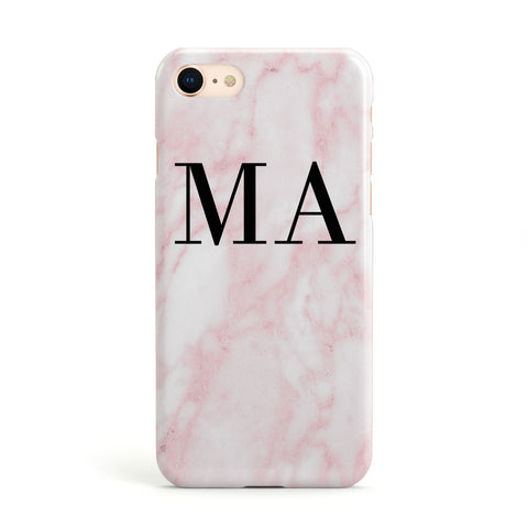 Pink Marble Initials Personalised Apple iPhone Case
