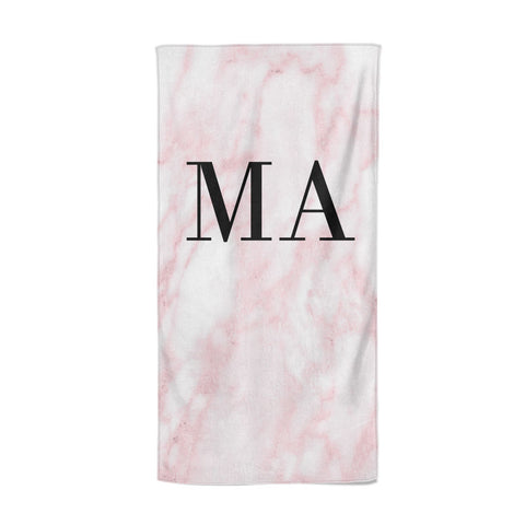 Personalised Pinky Marble Initials Beach Towel