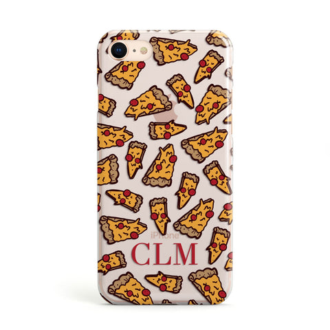 Personalised Pizza Initials Clear Apple iPhone Case