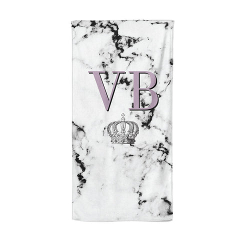 Personalised Princess Crown Initials Marble Beach Towel