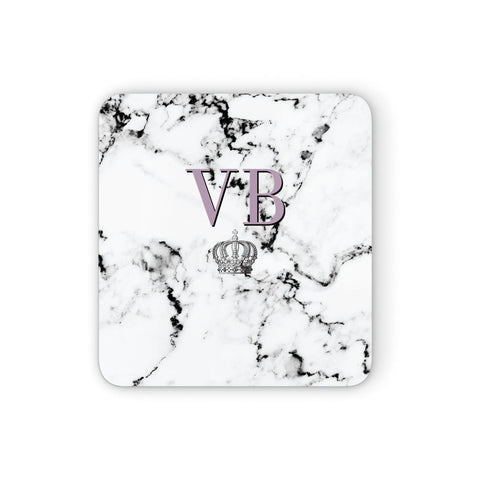 Personalised Princess Crown Initials Marble Coasters set of 4