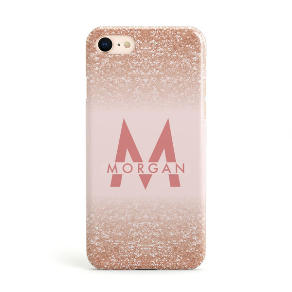 17504436c Personalised Printed Glitter Name Initials Apple iPhone Case