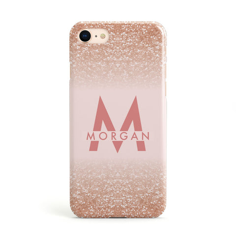 Personalised Printed Glitter Name Initials Apple iPhone Case