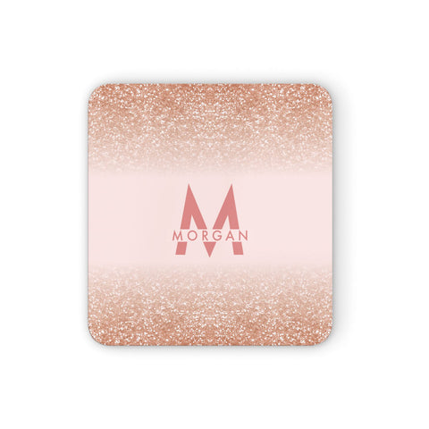 Personalised Printed Glitter Name Initials Coasters set of 4