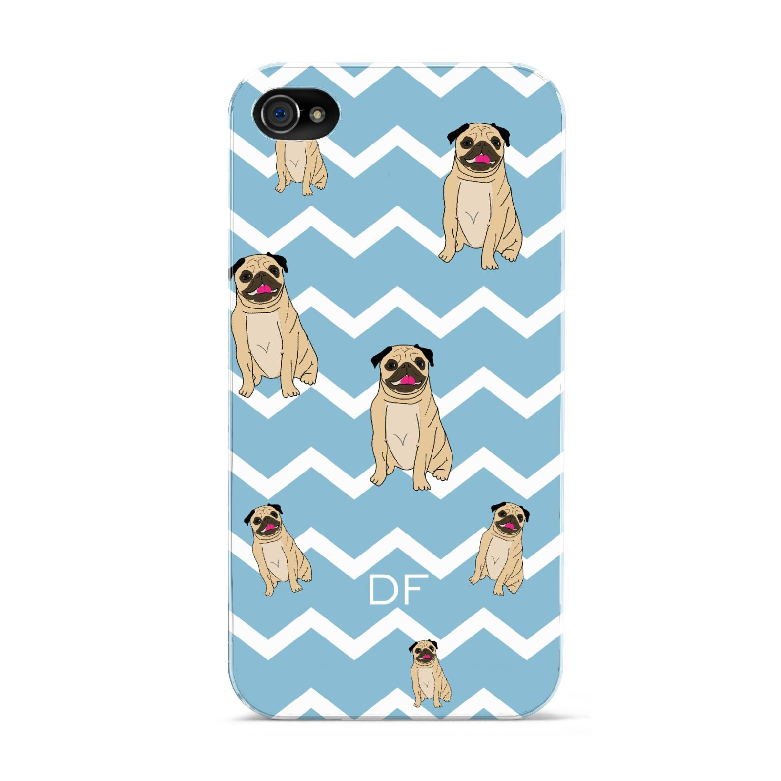 Personalised Pug Initials Apple iPhone 4s Case