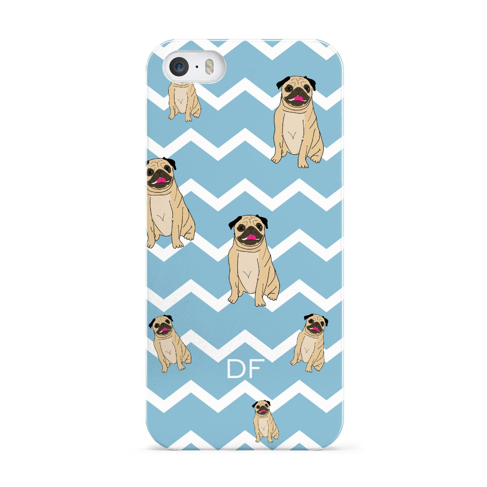 Personalised Pug Initials Apple iPhone 5 Case