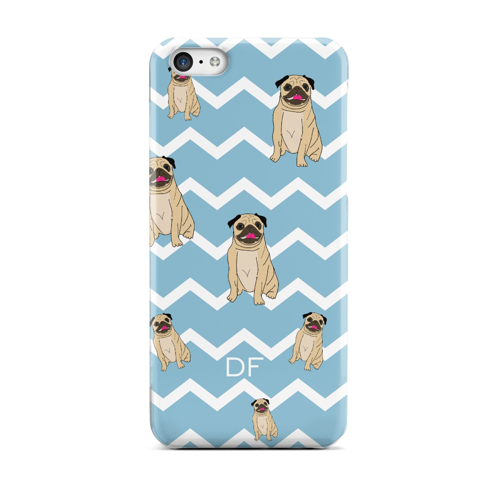 Personalised Pug Initials Apple iPhone 5c Case
