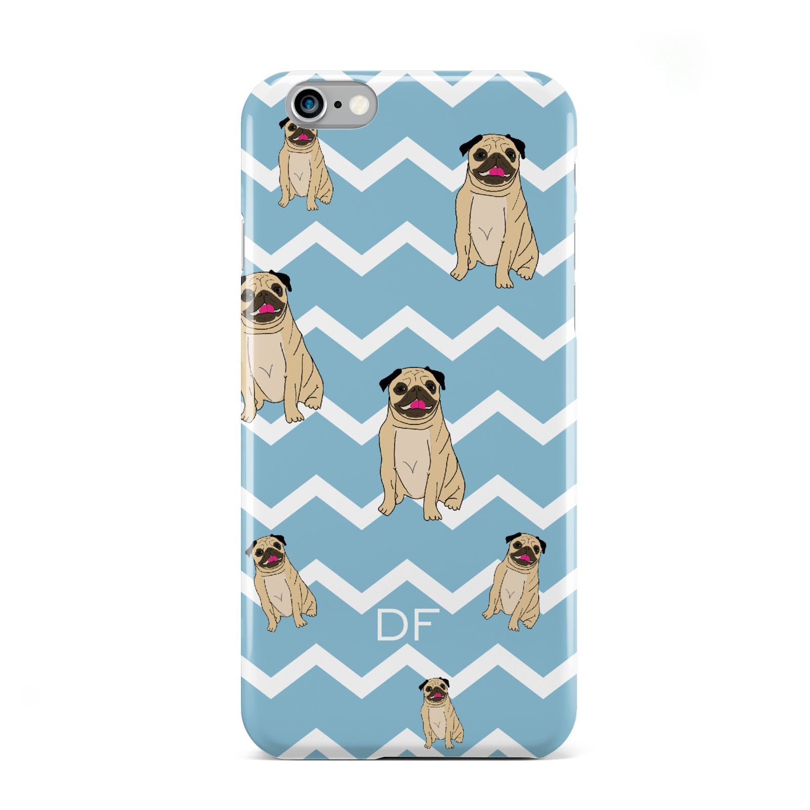 Personalised Pug Initials Apple iPhone 6 Case