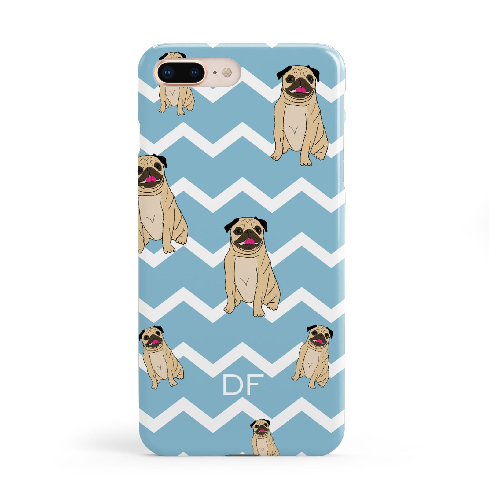 Personalised Pug Initials Apple iPhone 8 Plus Case