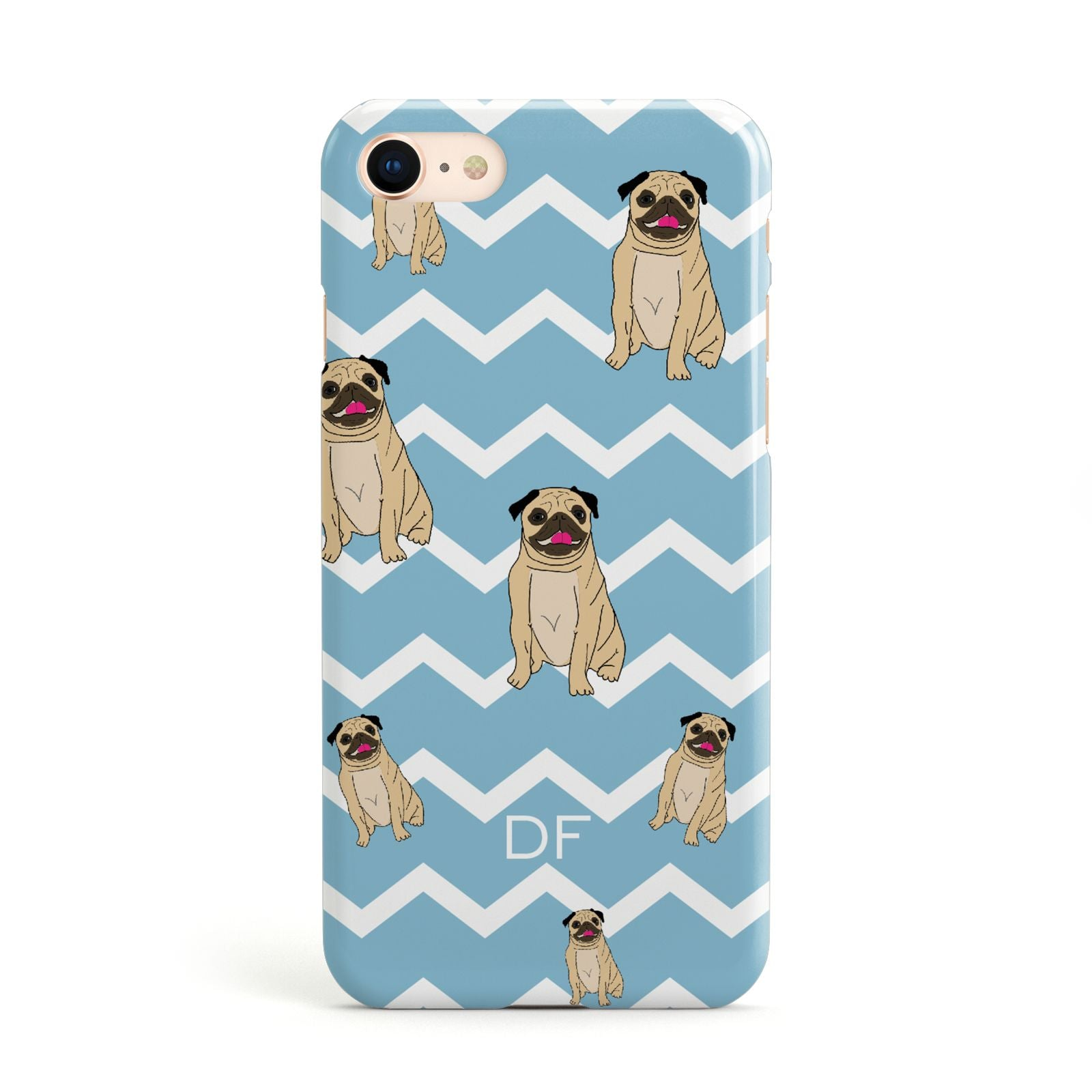 Personalised Pug Initials Apple iPhone Case