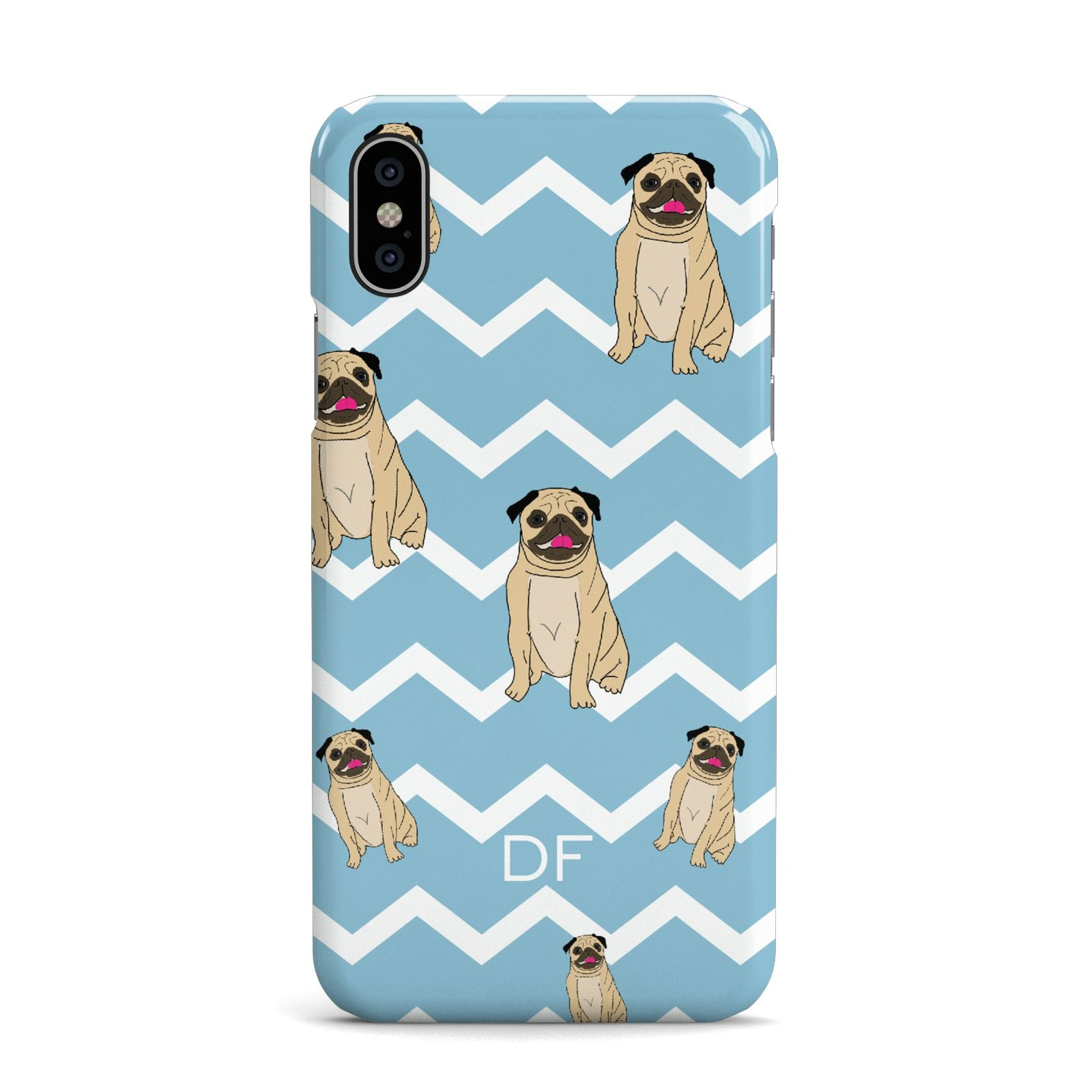 Personalised Pug Initials Apple iPhone X Case
