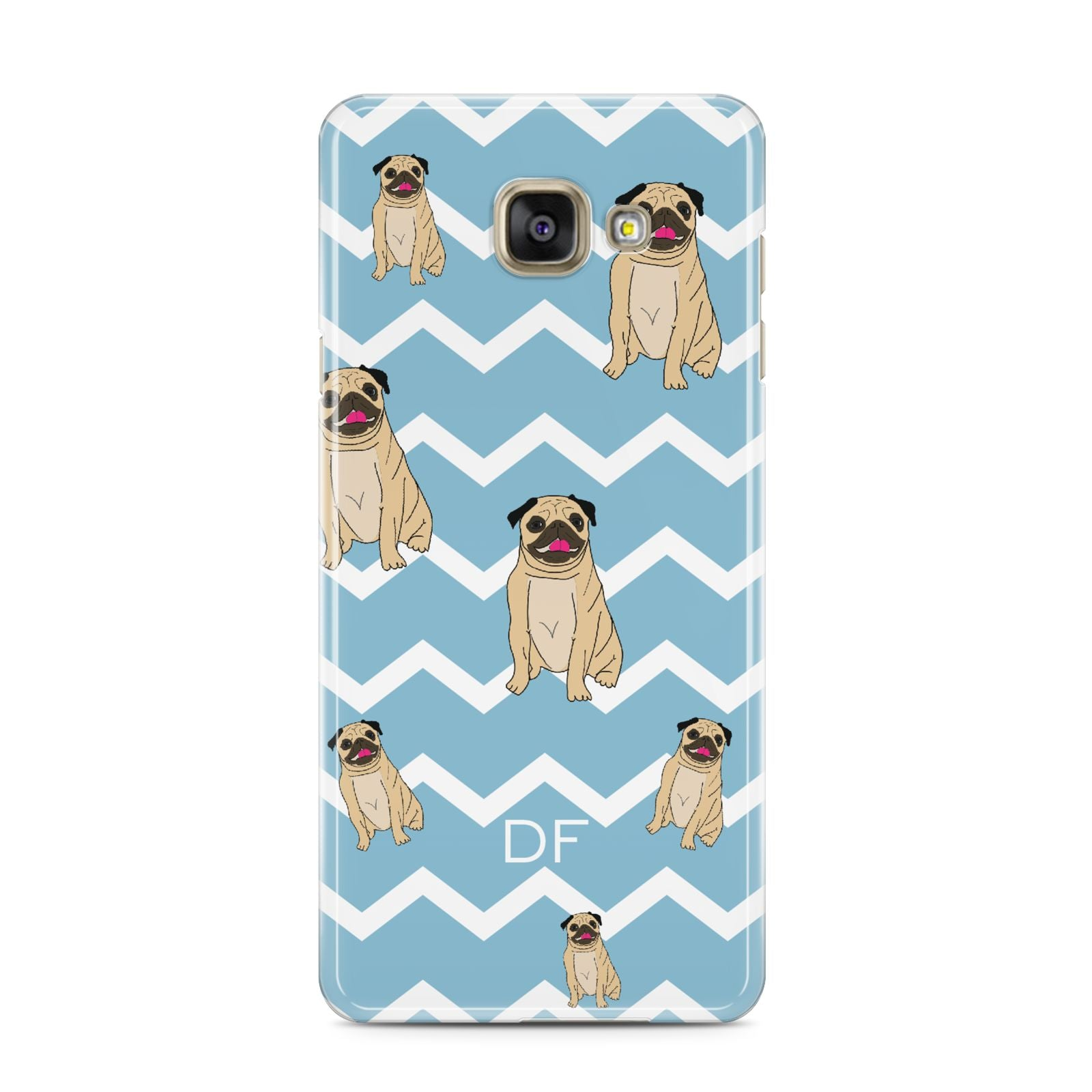 Personalised Pug Initials Samsung Galaxy A3 2016 Case on gold phone
