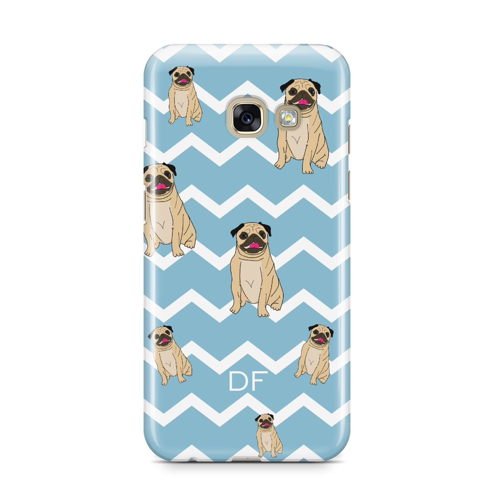 Personalised Pug Initials Samsung Galaxy A3 2017 Case on gold phone