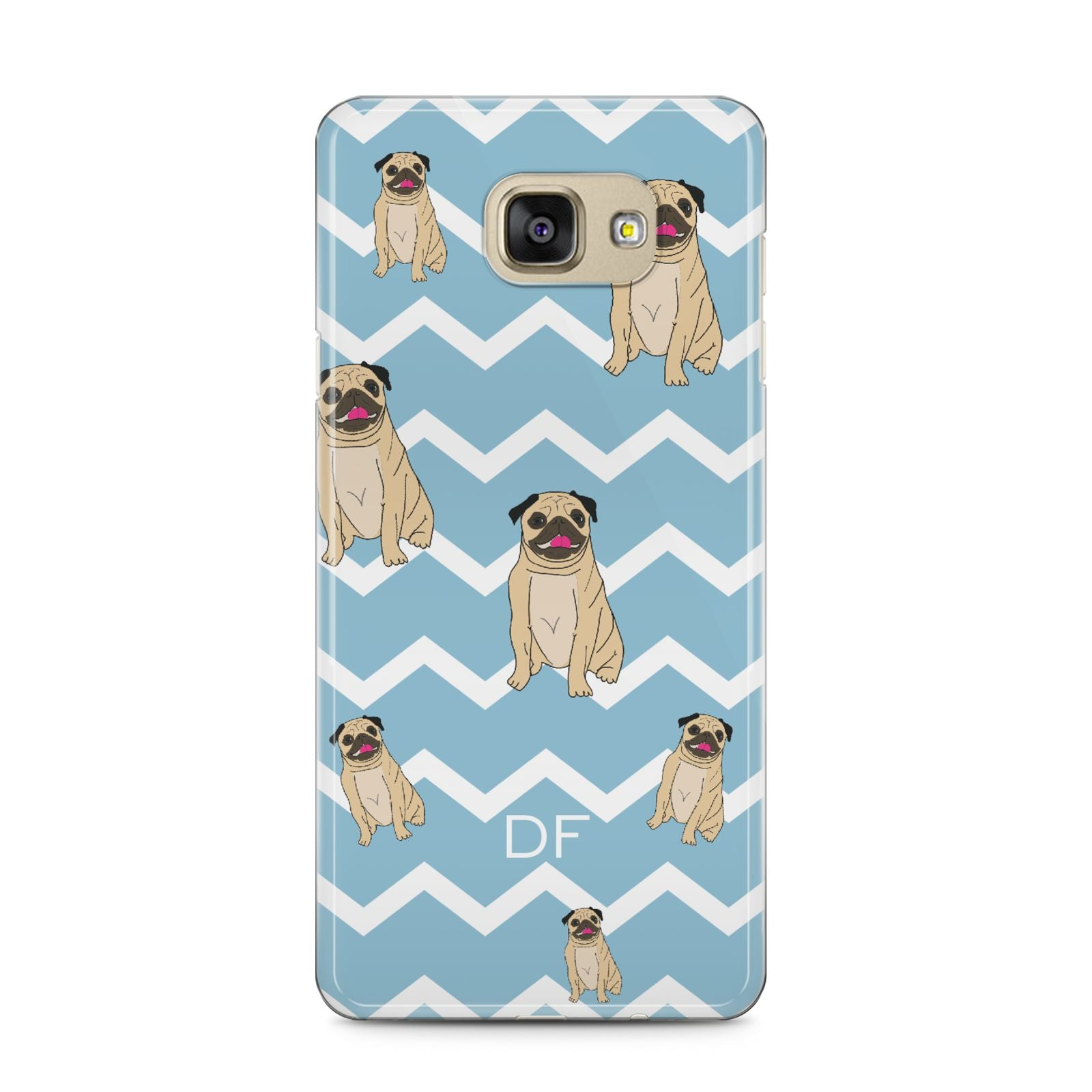 Personalised Pug Initials Samsung Galaxy A5 2016 Case on gold phone