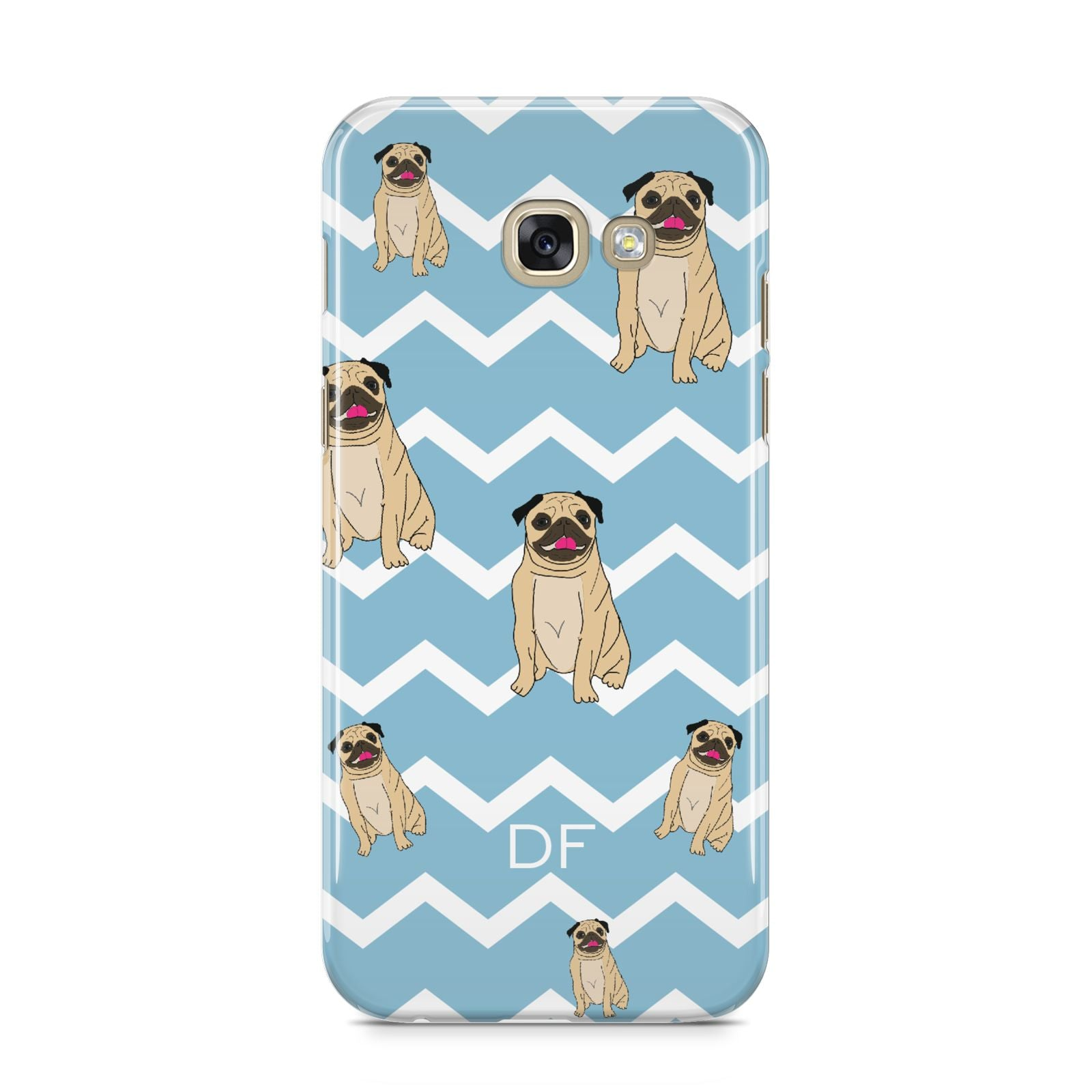 Personalised Pug Initials Samsung Galaxy A5 2017 Case on gold phone