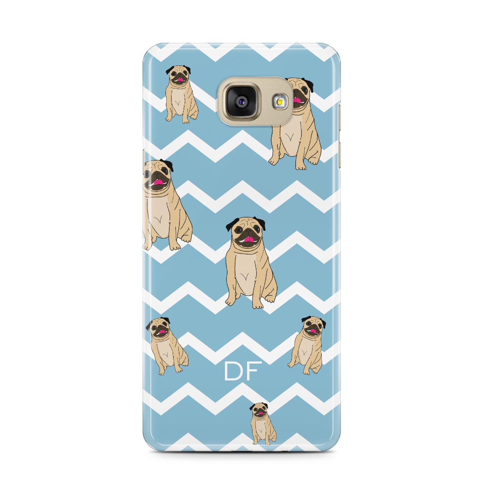 Personalised Pug Initials Samsung Galaxy A7 2016 Case on gold phone