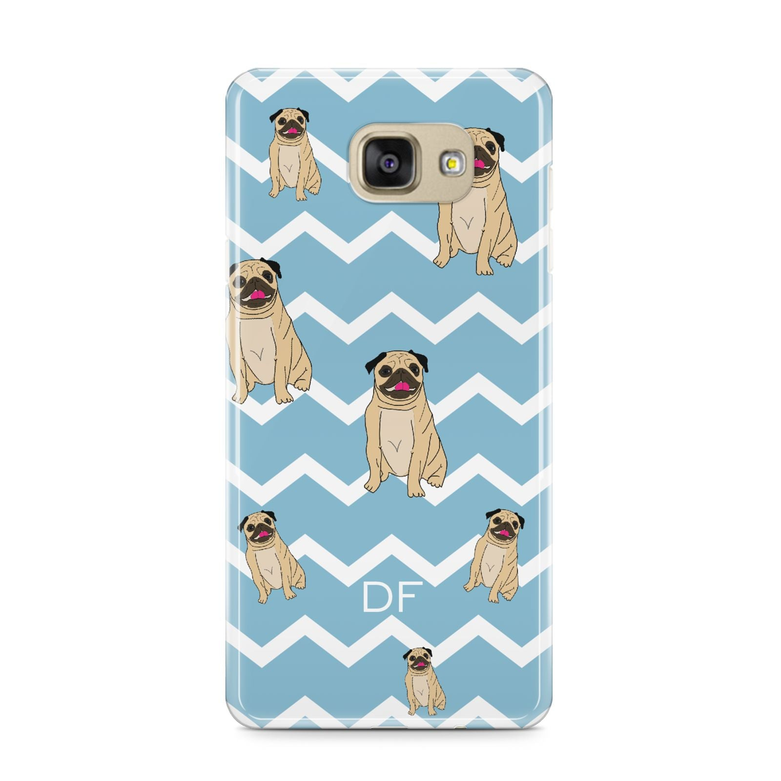 Personalised Pug Initials Samsung Galaxy A9 2016 Case on gold phone