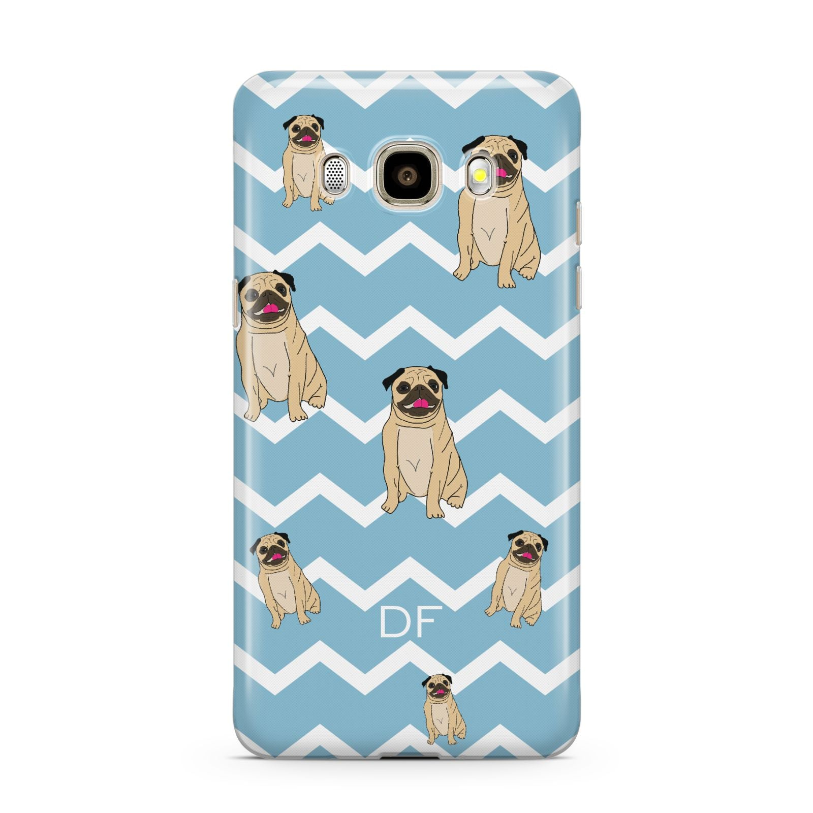 Personalised Pug Initials Samsung Galaxy J7 2016 Case on gold phone
