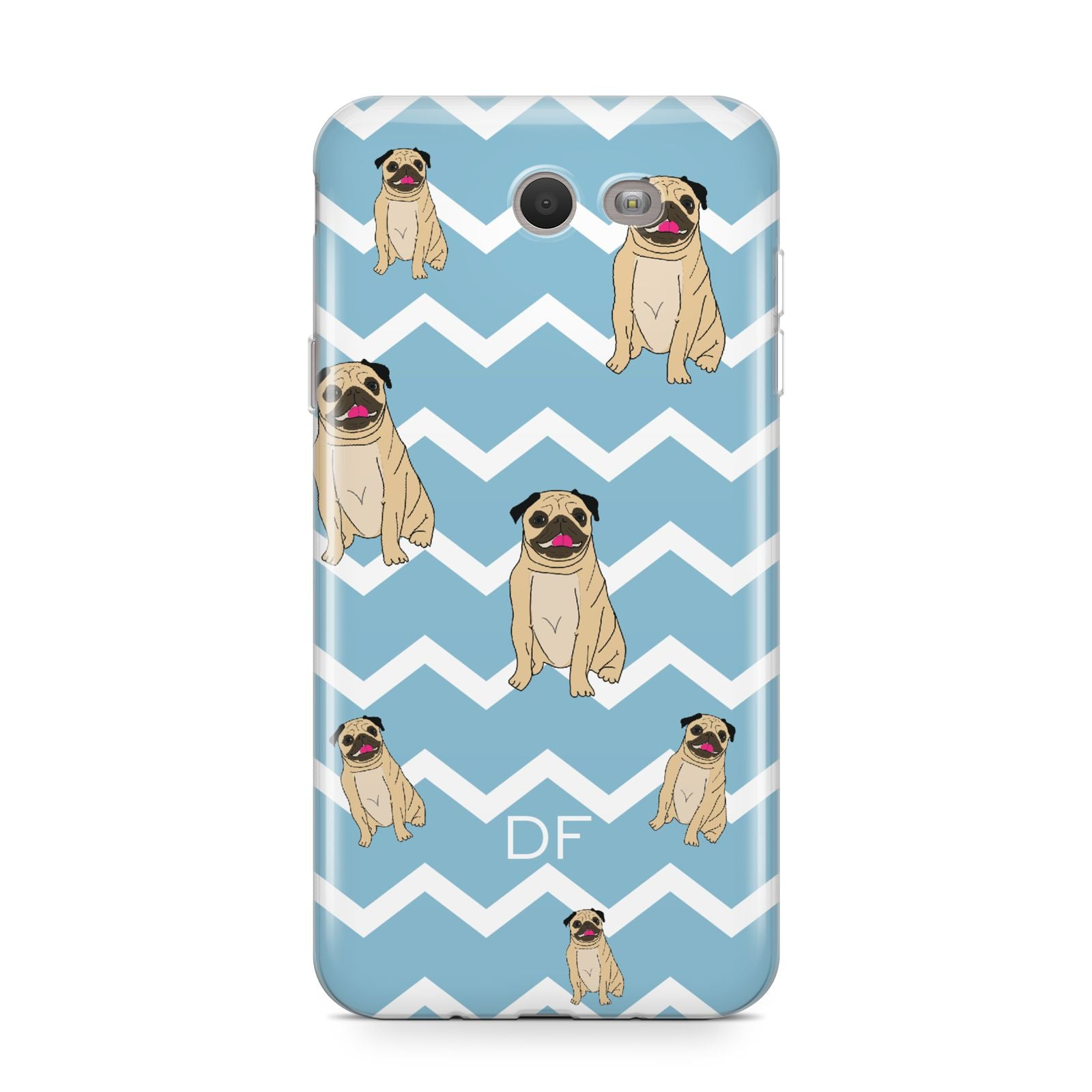 Personalised Pug Initials Samsung Galaxy J7 2017 Case