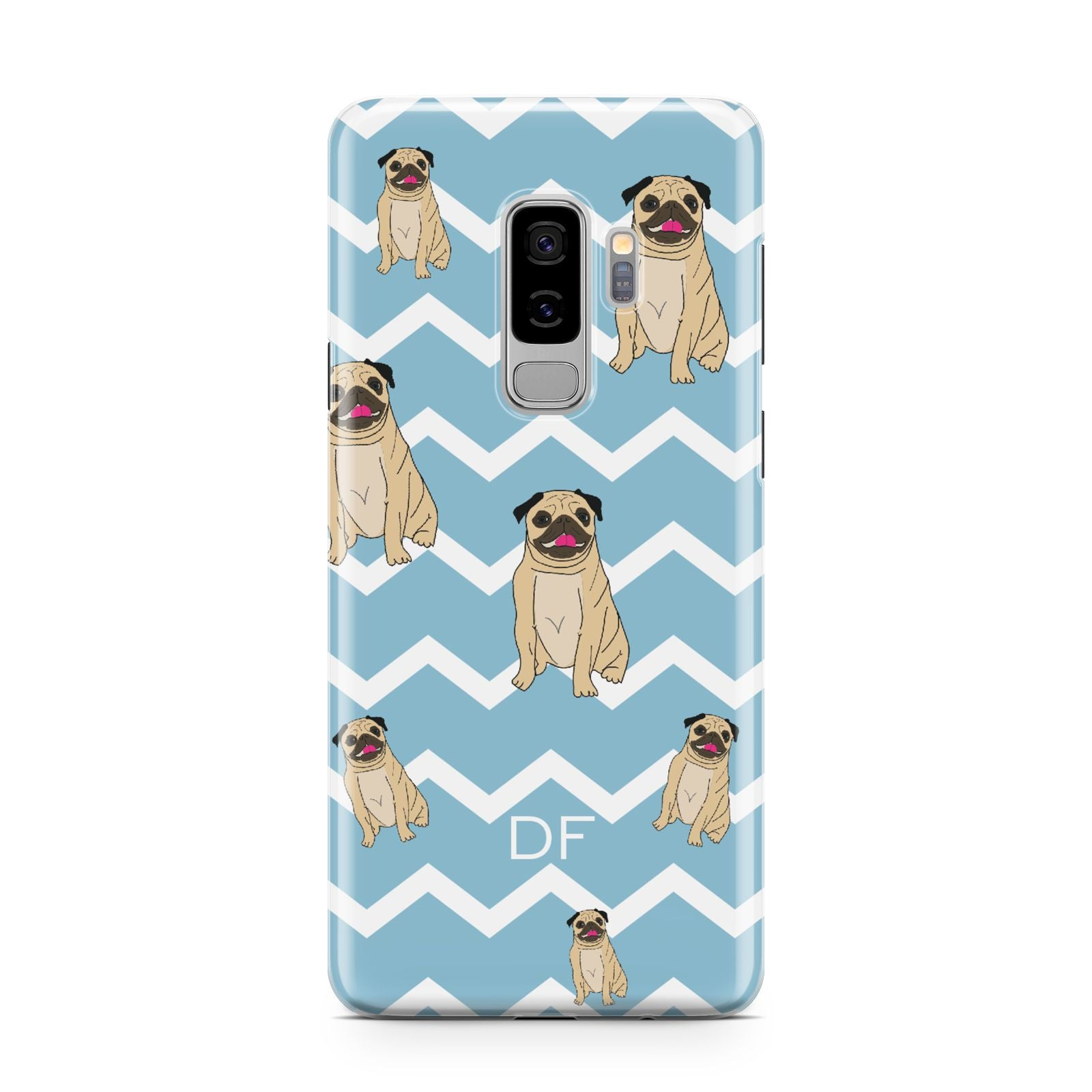 Personalised Pug Initials Samsung Galaxy S9 Plus Case on Silver phone