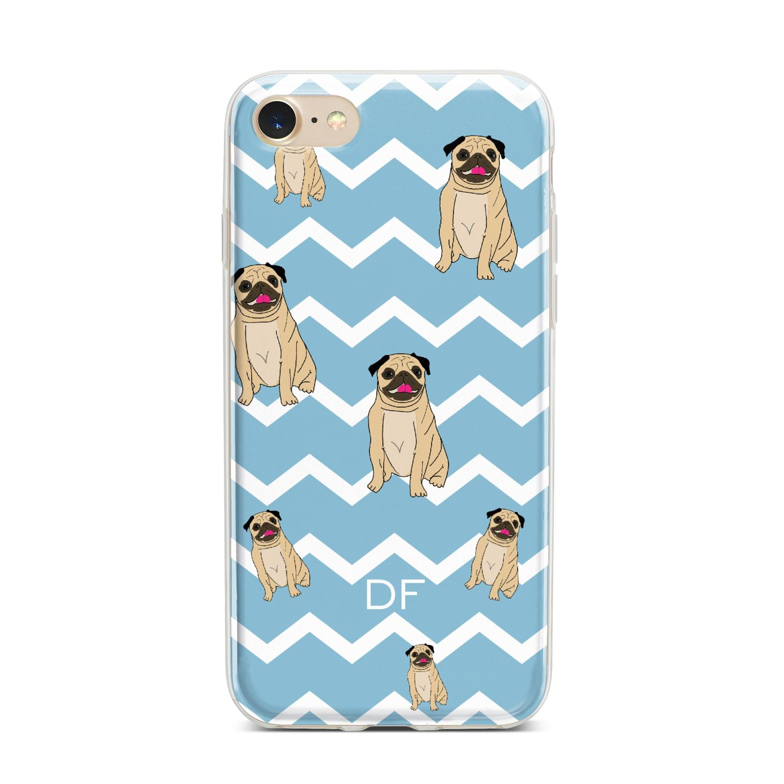 Personalised Pug Initials iPhone 7 Bumper Case on Gold iPhone