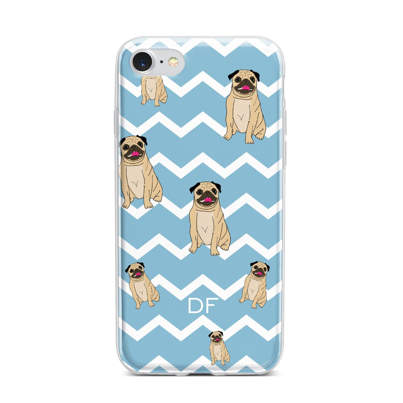 Personalised Pug Initials iPhone 7 Bumper Case on Silver iPhone