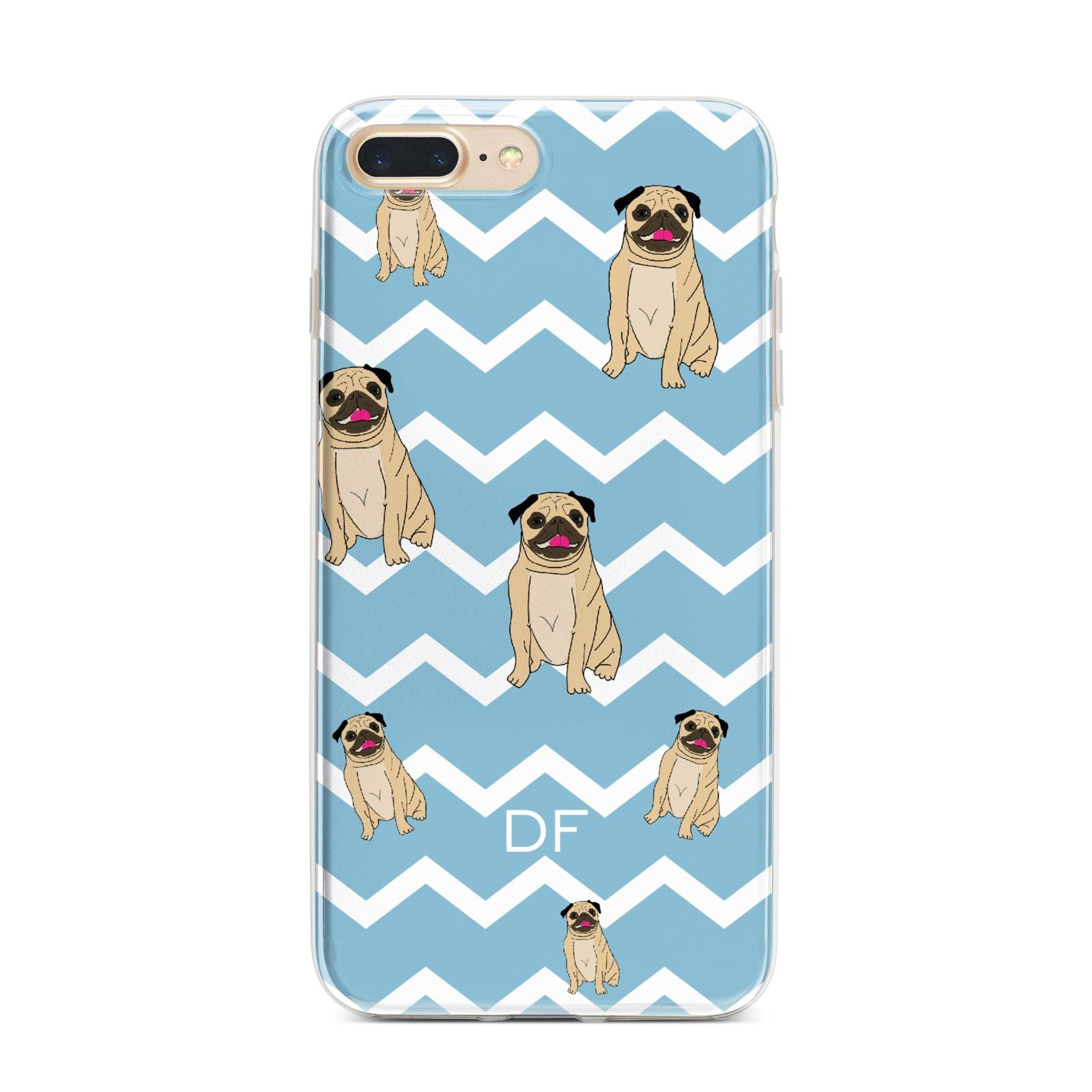 Personalised Pug Initials iPhone 7 Plus Bumper Case on Gold iPhone