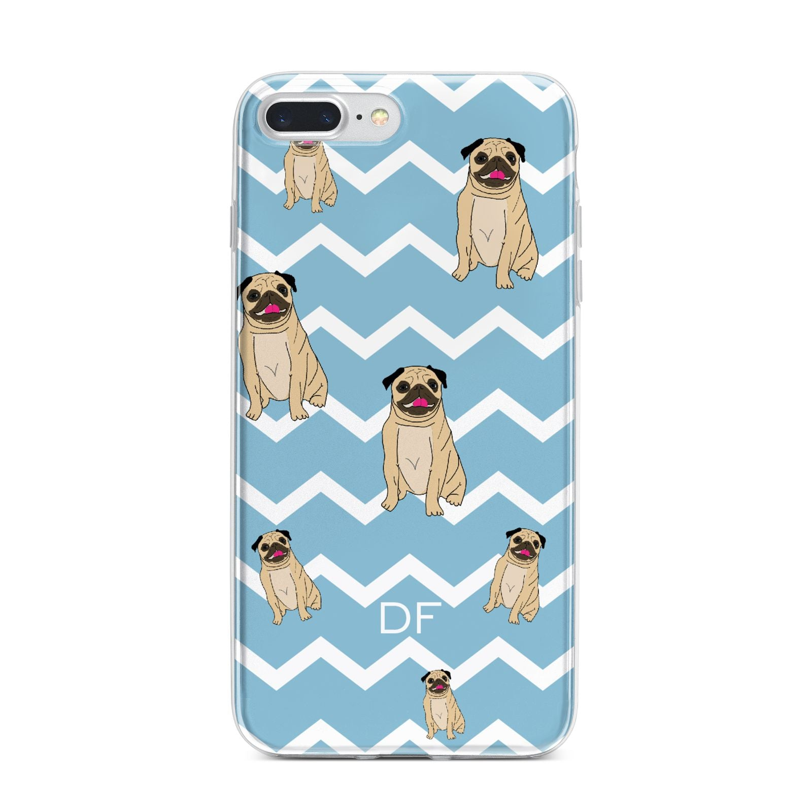 Personalised Pug Initials iPhone 7 Plus Bumper Case on Silver iPhone